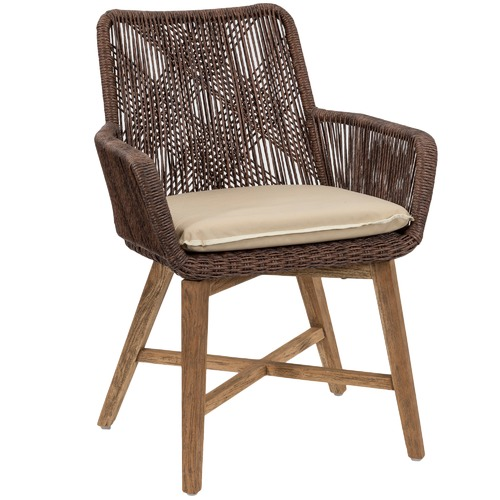 Cast Iron Outdoor Brown Armena PE Wicker Outdoor Dining Chairs