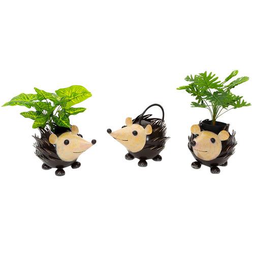 Cast Iron Outdoor 3 Piece Spike Hedgehog Planter Set