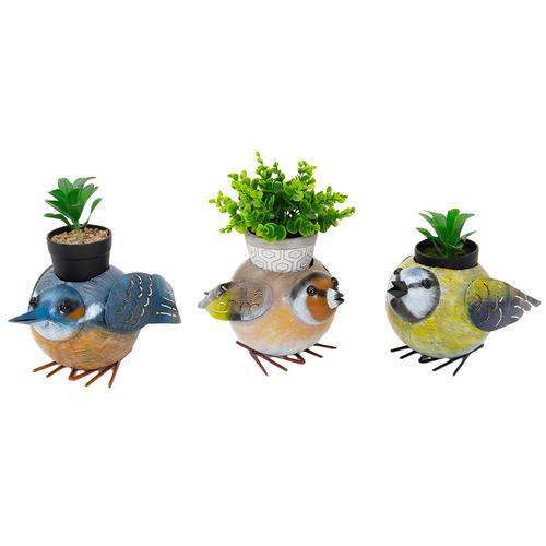 Cast Iron Outdoor 3 Piece Quirky Bird Family Planter Set