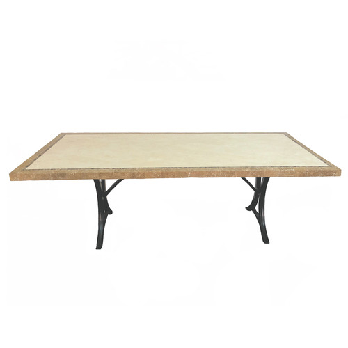 Cast Iron Outdoor Olympia Travertine Outdoor Dining Table