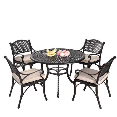 Cast Iron Outdoor 5 Piece Prato Cast Aluminium Dining Table & Chair Set