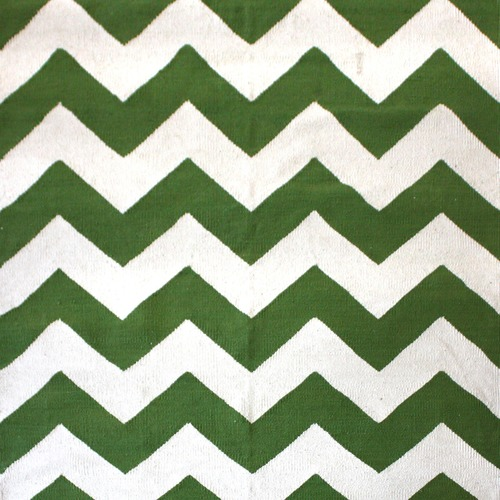 Ground Work Rugs Green Chevron Hand-Knotted Cotton Rug