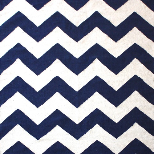 Ground Work Rugs Navy Chevron Hand-Knotted Cotton Rug