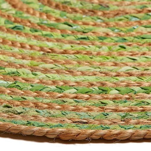 Ground Work Rugs Green Kaza Hand-Knotted Jute & Cotton Round Rug