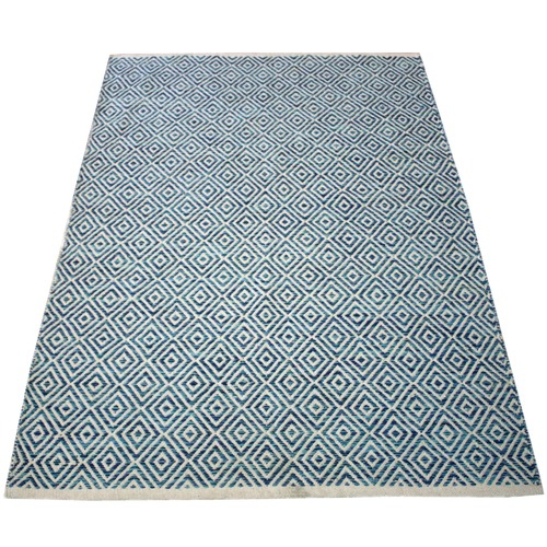Ground Work Rugs Blue Squares Hand-Knotted Cotton Rug