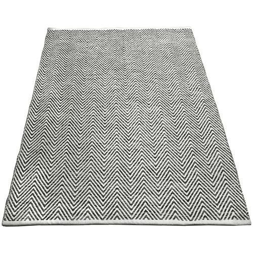 Ground Work Rugs Charcoal Tye Hand-Knotted Cotton Rug