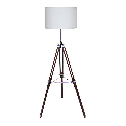 Navigator Tripod Floor Lamp - White Shade and Coffee Base | Temple ...