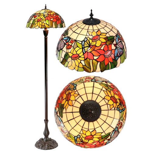 Tiffany Emporium Large Traditional Butterfly Sunflower Tiffany Floor Lamp Amp Reviews Temple