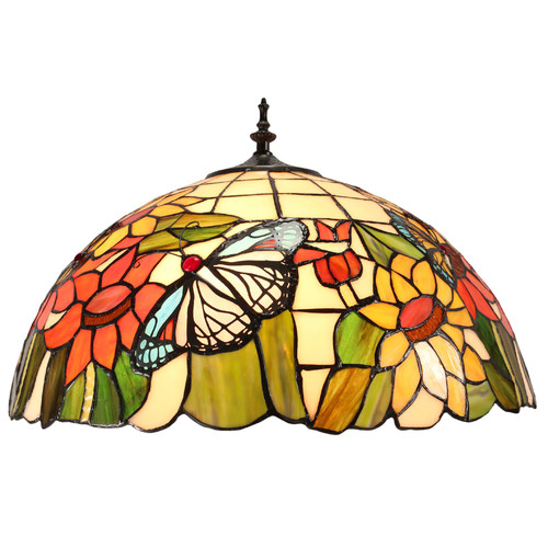 Tiffany Emporium Large Traditional Butterfly Sunflower Tiffany Floor Lamp