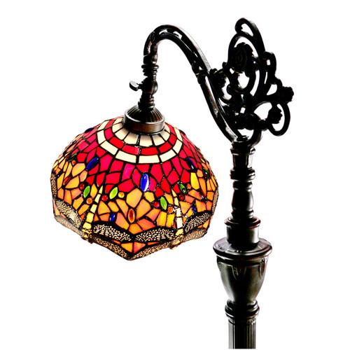 Tiffany Emporium Red Dragonfly Leadlight Bridge Arm Tiffany Floor Lamp