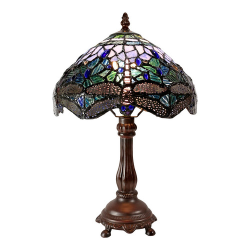 Traditional Blue Dragonfly Tiffany Bedside Lamp Temple