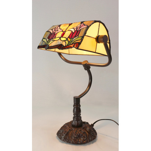 Tiffany Emporium Traditional Colonial Style Tulip Tiffany Banker Lamp