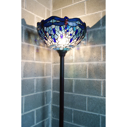 Tiffany Emporium Traditional Blue Dragonfly Tiffany Torchiere Floor Lamp