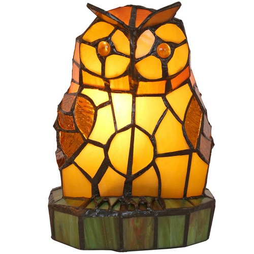 Amber Owl Tiffany Style Table Lamp Temple Webster