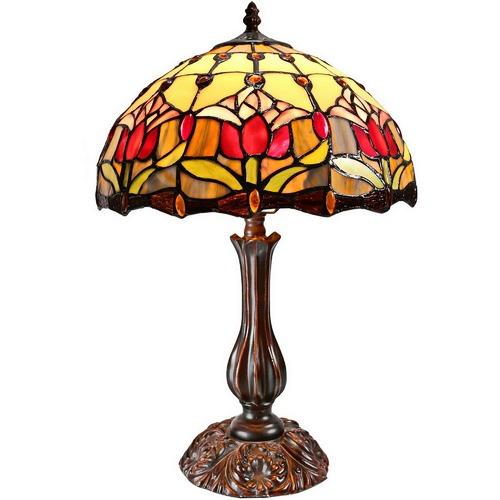 "Tiffany Emporium Tulip Style Tiffany 12"" Bedside Lamp"