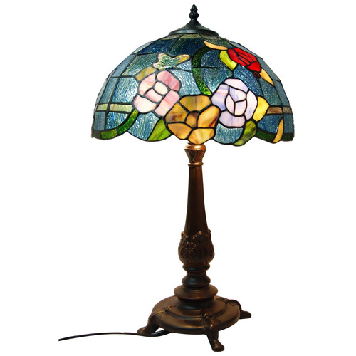 Tiffany Emporium Large Rose Style Leadlight Stained Glass Tiffany Table Lamp