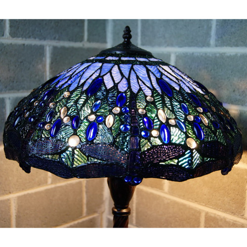 Tiffany Emporium Large Traditional Blue Dragonfly Tiffany Floor Lamp