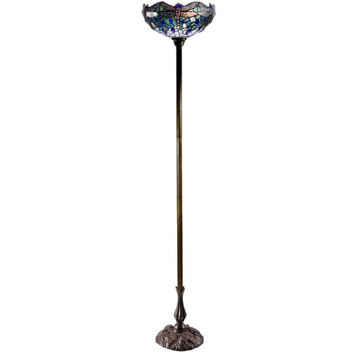 Tiffany Emporium Blue Dragonfly Tiffany-Style Torchiere Floor Lamp