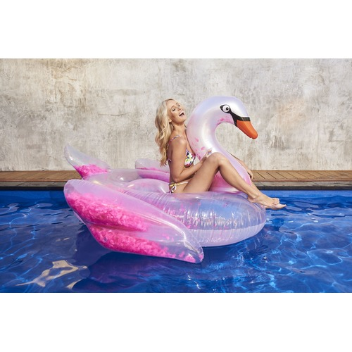 Splash Time Float Like A Feather Swan Inflatable Pool Toy
