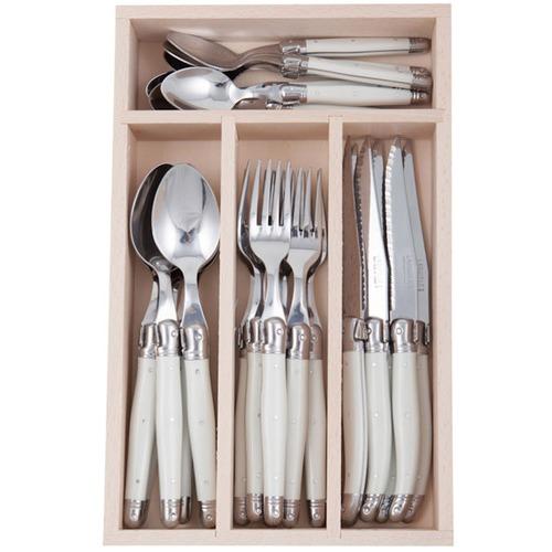 Andre Verdier 24 Piece Debutant Mirror White Cutlery Set