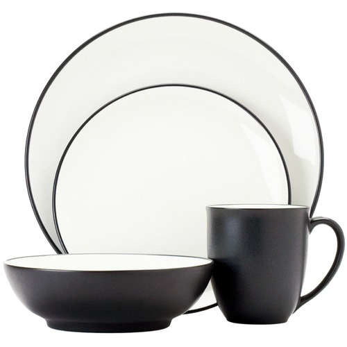 Noritake 16 Piece Colorwave Graphite Coupe Dinner Set