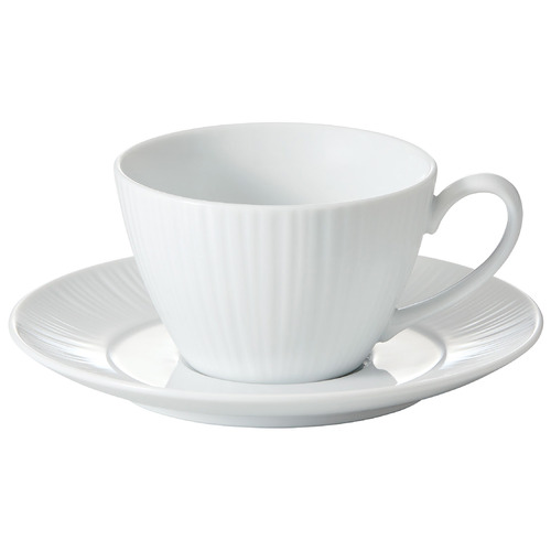 Noritake White Conifere Teacups & Saucers