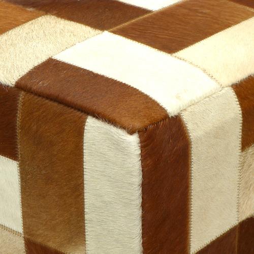 Boyle Brown Geometric Patchwork Cow Hide Ottoman