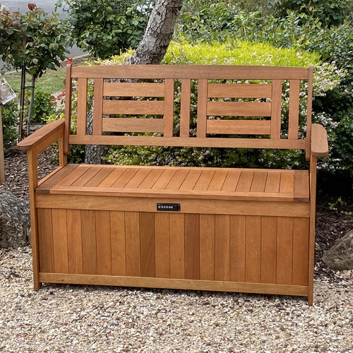 Breeze Outdoor Lockt Shorea Wood Outdoor Storage Bench