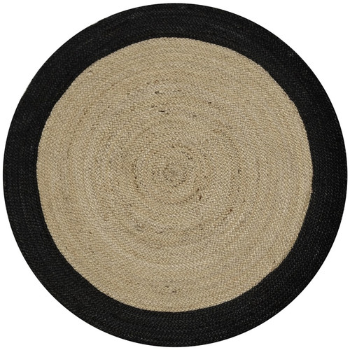 Atlas Flooring Round Black Border Dot Rug