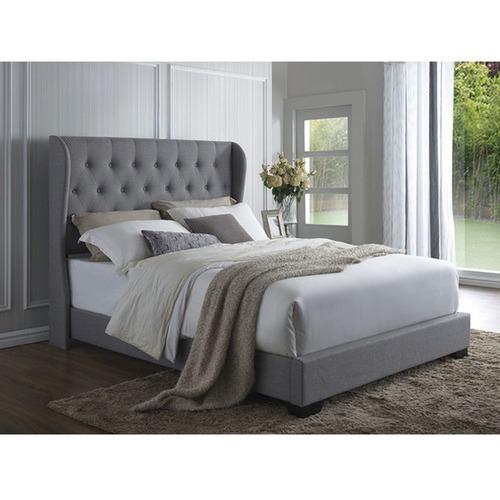Grey Wimbledon Winged Linen Bed Frame