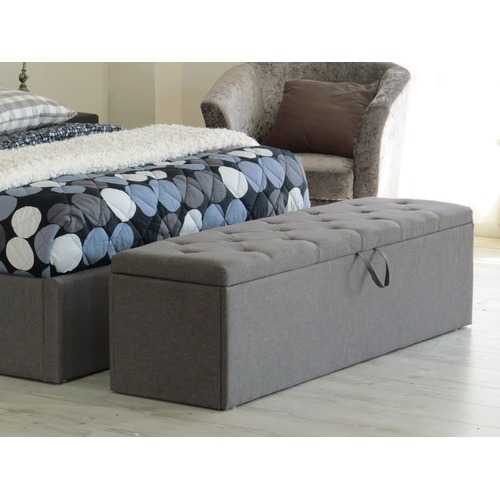 Rawson & Co Grey Chester Fabric Storage Ottoman