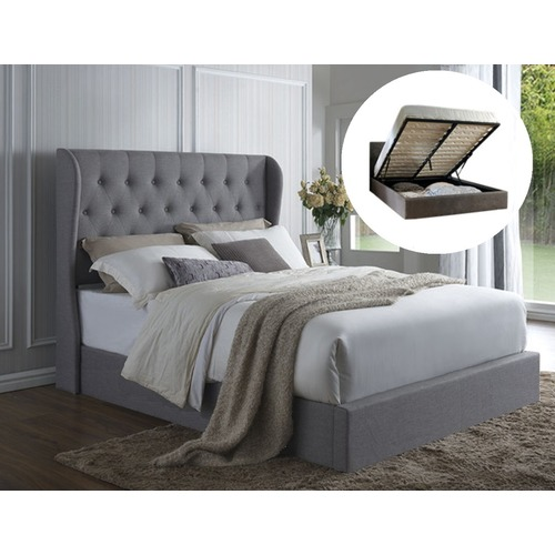 Rawson & Co Grey Harlow Winged Gas Lift Storage Bed