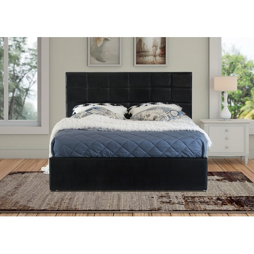 Rawson & Co Black Amalfi Buttoned Faux Leather Gas Lift Bed Frame