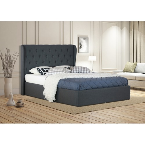 Rawson & Co Charcoal Harlow Winged Gas Lift Bed Frame