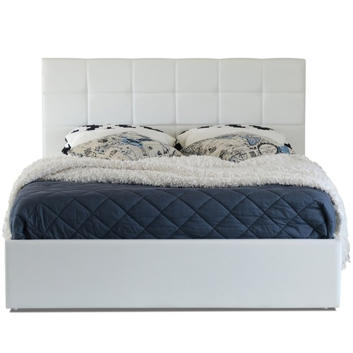 Rawson & Co White Amalfi Buttoned Faux Leather Gas Lift Bed Frame