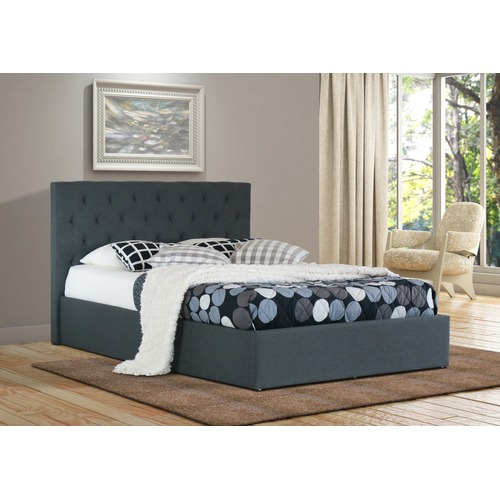 Rawson & Co Charcoal Oxford Gas Lift Wooden Storage Bed