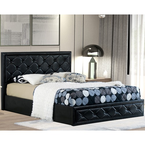 Rawson & Co Black Miles Faux Leather Gas Lift Bed Frame