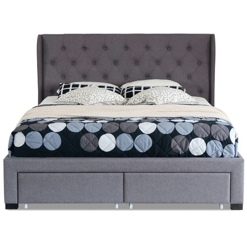 Rawson & Co Grey Harlow Upholstered Bed Frame with Storage