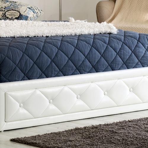 Rawson & Co White Miles Faux Leather Gas Lift Bed Frame