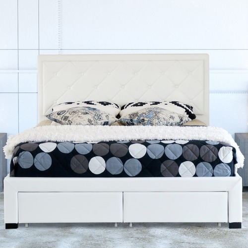 Rawson & Co White Miles Faux Leather Bed Frame with Storage