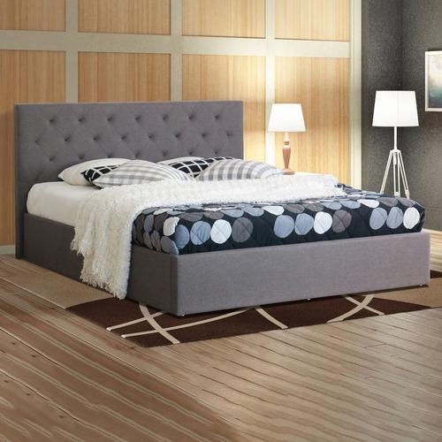 Rawson & Co Grey Oxford Gas Lift Wooden Storage Bed