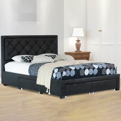 Rawson & Co Black Miles Faux Leather Bed Frame with Storage