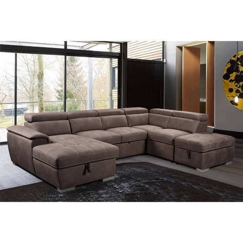 Dodicci Brown Brighton 6 Seater Faux Leather Sofa Bed with Storage