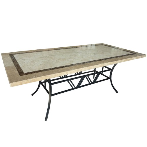 Sunlong Garden Large Stone Table with Black Frame