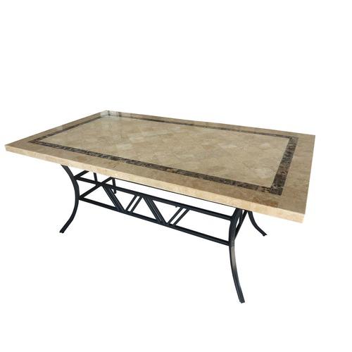 Sunlong Garden Natural Stone & Iron Outdoor Table