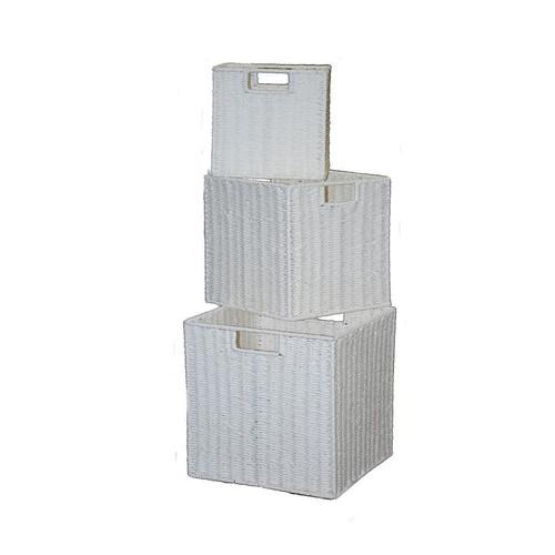 Cane Design Paper Rope Storage Basket In White