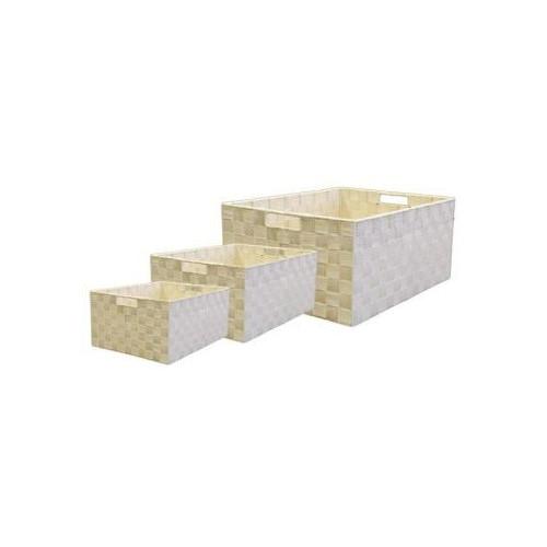 Cane Design Cream Rectangle Nylon Storage Baskets