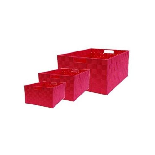Cane Design Rectangle Nylon Storage Basket in Rose