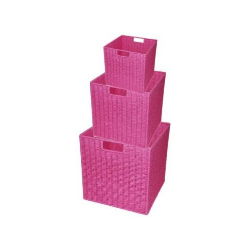 Cane Design Paper Rope Storage Cube in Pink