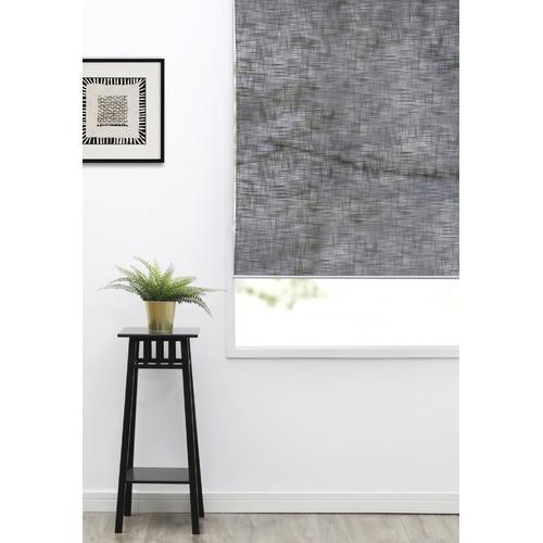 Home Living Black Faux Linen Roller Blind